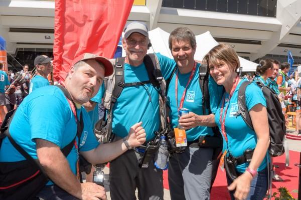 De gauche à droite, notre équipe: Guy Desrosiers, Serge Pilon (notre boss), Claudel Lemieux (mon amoureux) et moi-même